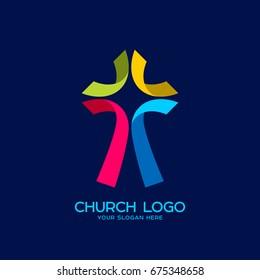 Church logo. Christian symbols. Cross of Jesus of colored strips