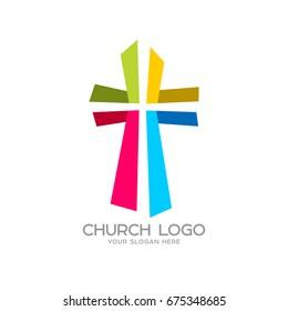 Church logo. Christian symbols. Cross of the Savior Jesus Christ