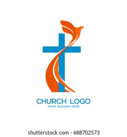 Church logo. Christian symbols. Cross and a flying dove - a symbol of the Holy Spirit