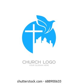 Church logo images stock photos vectors shutterstock church logo christian symbols the cross of jesus and the dove over the city altavistaventures Images