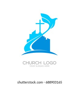 Church logo. Christian symbols. The cross of Jesus and the dove over the city