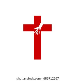 Church logo. Christian symbols. Cross of Jesus and Hands