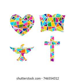 Church logo. Christian symbols. Cross, bible, heart and dove