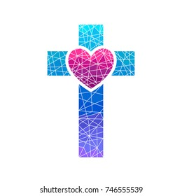 Church logo. Christian symbols. Cross of Jesus and heart, mosaic