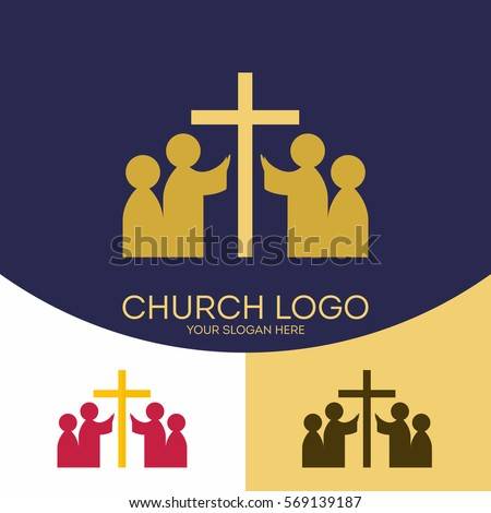Church logo. Christian symbols. The cross of Jesus Christ and the people who worship God