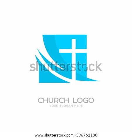 Church Logo Christian Symbols Cross Lord Stock Vector Royalty Free