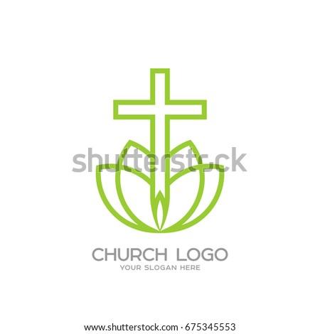 Church Logo Christian Symbols Cross Savior Stock Vector Royalty