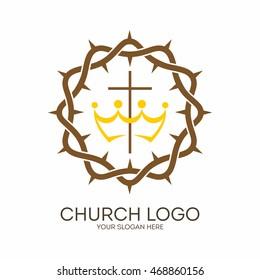 Church logo. Christian symbols. Crown of thorns and cross.