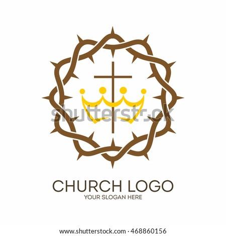 Church Logo Christian Symbols Crown Thorns Stock Vector Royalty