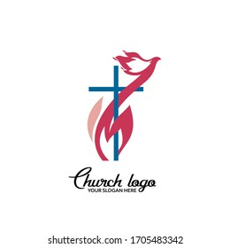 Church logo. Christian symbols. A dove of flame interwoven with the cross of Jesus Christ.