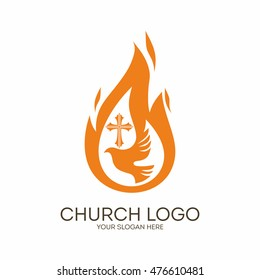 Church logo. Christian symbols. Dove, the flame of the Holy Spirit and the cross of Jesus
