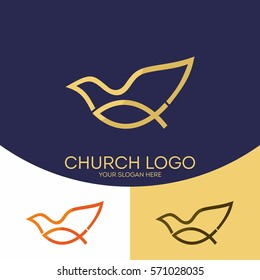 Church logo. Christian symbols. Fish - Jesus symbol, a dove - the Holy Spirit