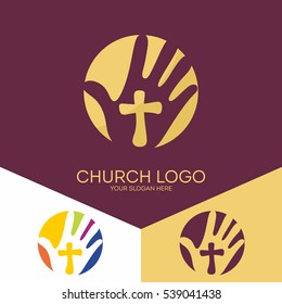 Church logo. Christian symbols. The hand of the Lord, a reminder of the holy sacrifice of Jesus Christ.