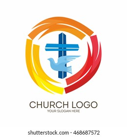 Church logo. Christian symbols. Jesus' cross and dove - the Holy Spirit.