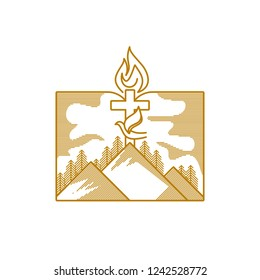 Church logo. Christian symbols. Mountains, the cross of Jesus Christ, a dove and a flame against the background of an open bible.