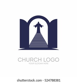 Church logo. Christian symbols. Open the door and the staircase leading to the Lord and Savior Jesus Christ.
