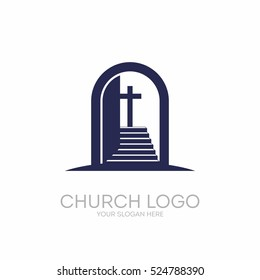 Church logo. Christian symbols. Open the door and the staircase leading to the cross of the Lord and Savior Jesus Christ.