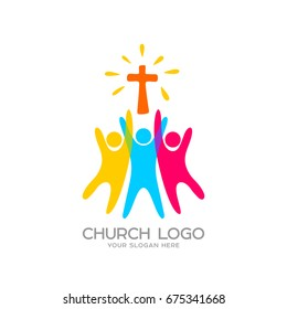 Church logo. Christian symbols. People worship the Lord Jesus Christ
