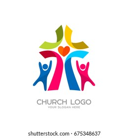 Church logo. Christian symbols. People worship the Lord Jesus Christ