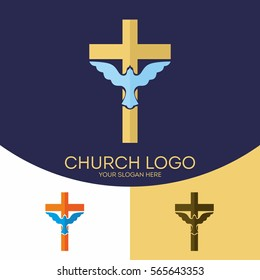 Church logo. Christian symbols. Silhouette of the cross of Jesus Christ, the dove, the Holy Spirit.