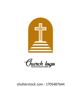Church logo. Christian symbols. Staircase leading to the cross of Christ.
