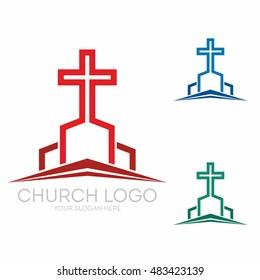 Church logo. Christian symbols. Stylish cross of Jesus Christ among graphic vector elements.