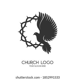 Church logo. Christian symbols. The symbol of the Holy Spirit is a dove. The crown of trinity is a symbol of suffering.