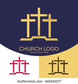 Church logo. Christian symbols. Three crosses.