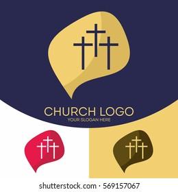 Church logo. Christian symbols. Three crosses
