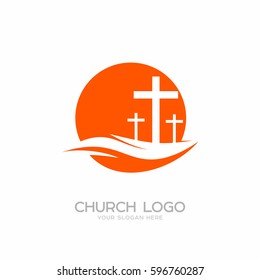 Church logo. Christian symbols. Three crosses on a hill.