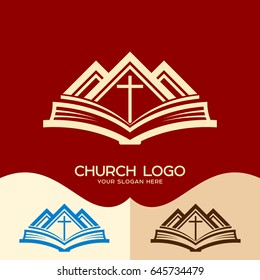 Church logo. Cristian symbols. Cross of Jesus, the Bible and the mountains