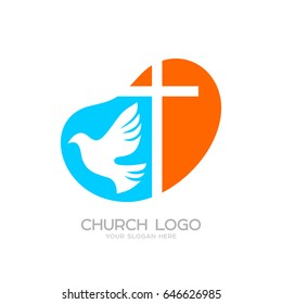 Church logo. Cristian symbols. The cross of Jesus and the dove