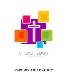 Church logo. Cristian symbols. The cross of Jesus and the colored elements