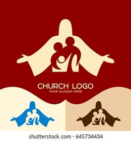 Church logo. Cristian symbols. Family in Christ Jesus