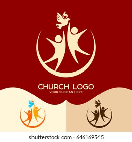 Church logo. Cristian symbols. The Holy Spirit and people