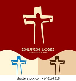 Church logo. Cristian symbols. Jesus Christ in the background of the cross