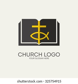 Church logo. Cross, bible and Jesus fish.