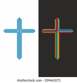 Church logo. Cross it is consisting of lines