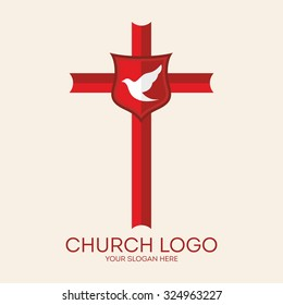 Church logo. Cross and dove, Holy spirit
