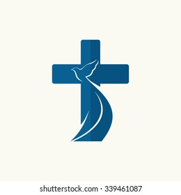 Church logo. Cross and dove, symbol of the Holy Spirit