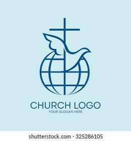 Church logo. Cross, globe and dove holy spirit