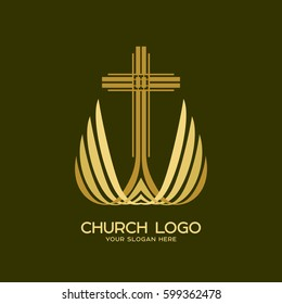 Church logo. The cross of the Lord and Savior Jesus Christ and wings