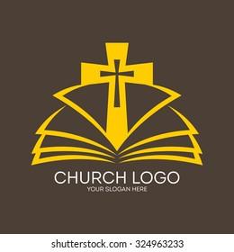Church logo. Cross and open bible