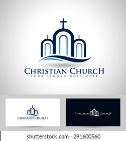Church Logo Design. Creative Church Christian Icon Design and business card template.