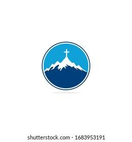 Church logo designs with mountain, minimalist logo. People church vector logo design template. Church and Christian organization logo.