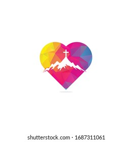 church logo designs with mountain, minimalist logo. People church vector heart shape concept logo design template. Church and Christian organization logo.