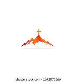 church logo designs with mountain, minimalist logo. People church vector logo design template. Church and Christian organization logo.