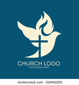 Church logo images stock photos vectors shutterstock church logo dove cross flame holy spirit altavistaventures Choice Image