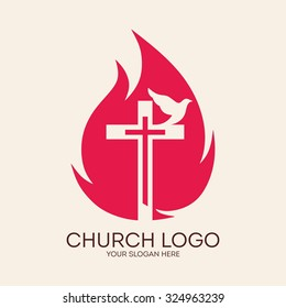 Church logo. Dove, cross, flame, Holy Spirit