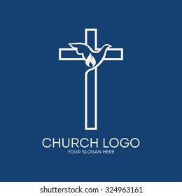 Church logo. Dove, cross, Holy Spirit, flame
